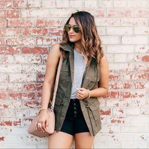 Blogger Favorite Olive Green Utility Vest XS